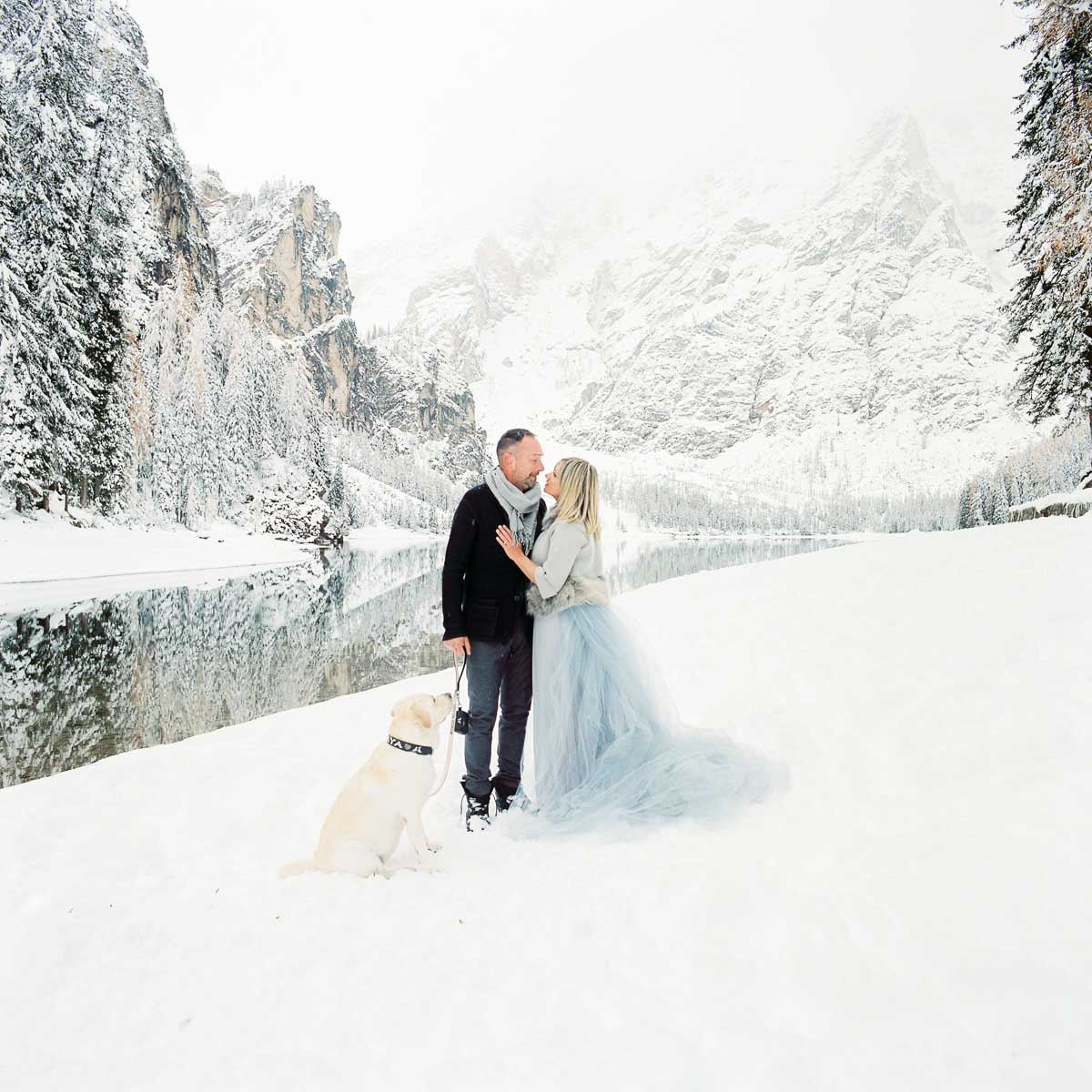 couple on the braies lake